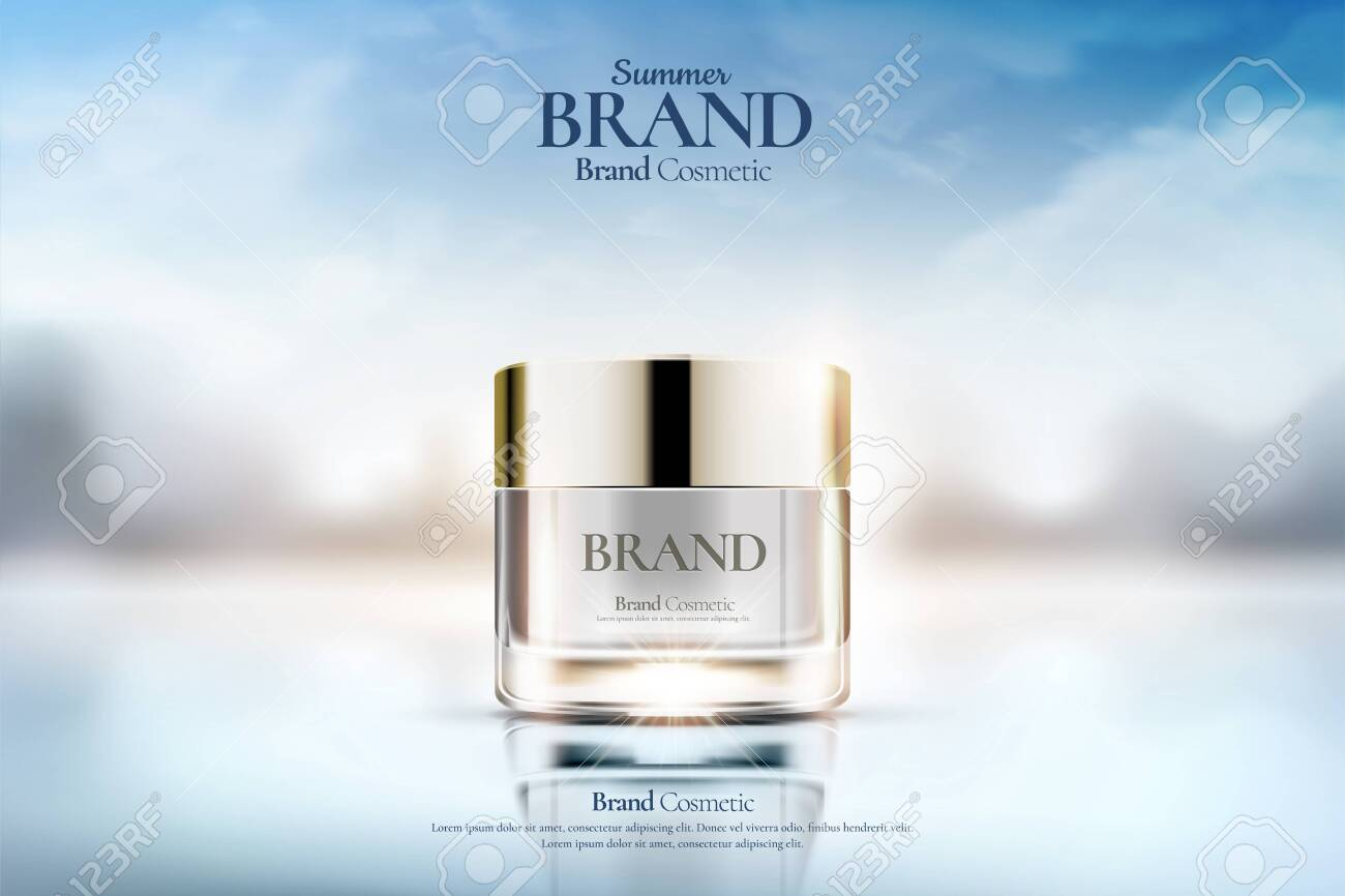 Cream jar cosmetic ads on clear bokeh background in 3d illustration - 124627771