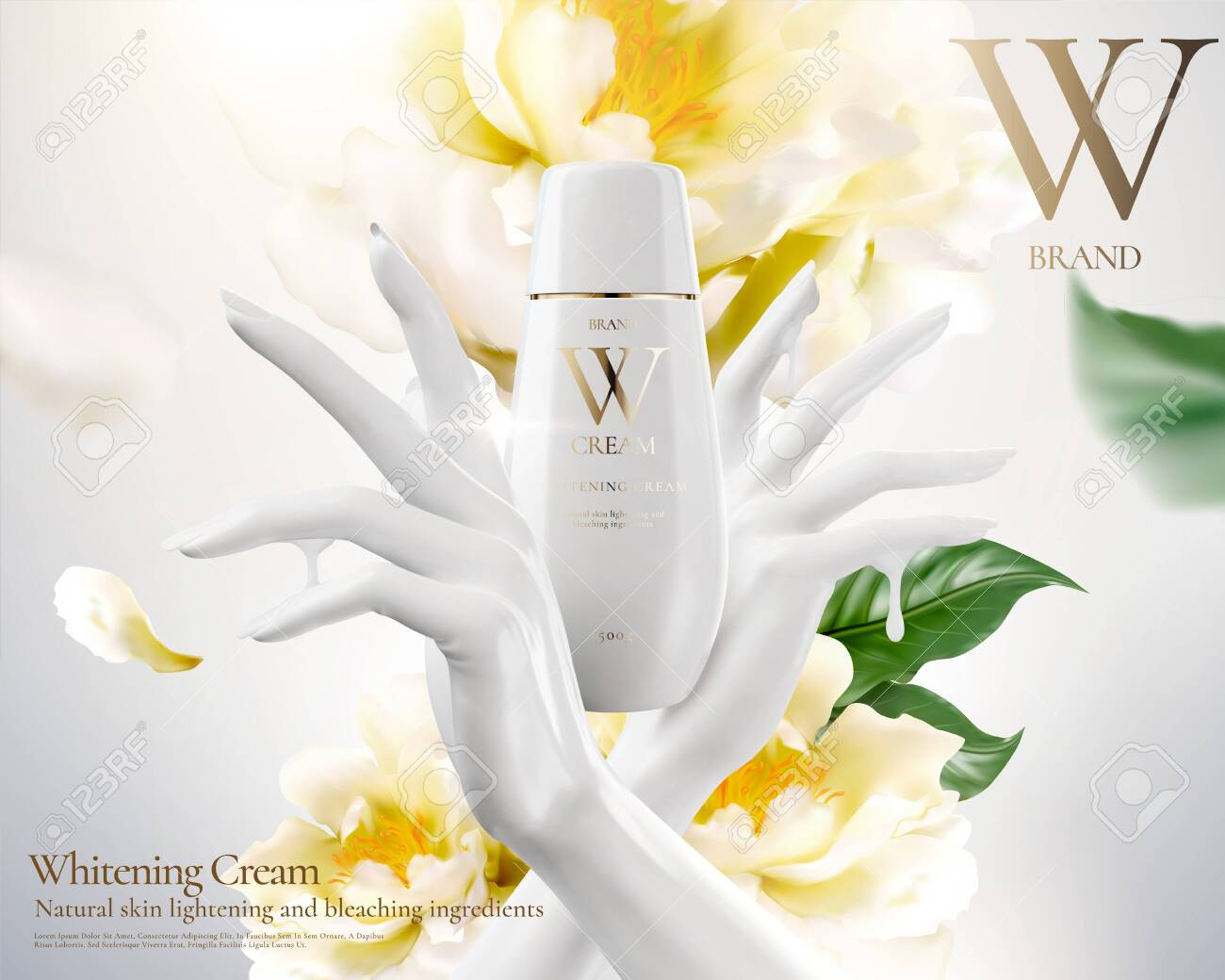 Whitening cream ads with white hand and flowers in 3d illustration - 125189795