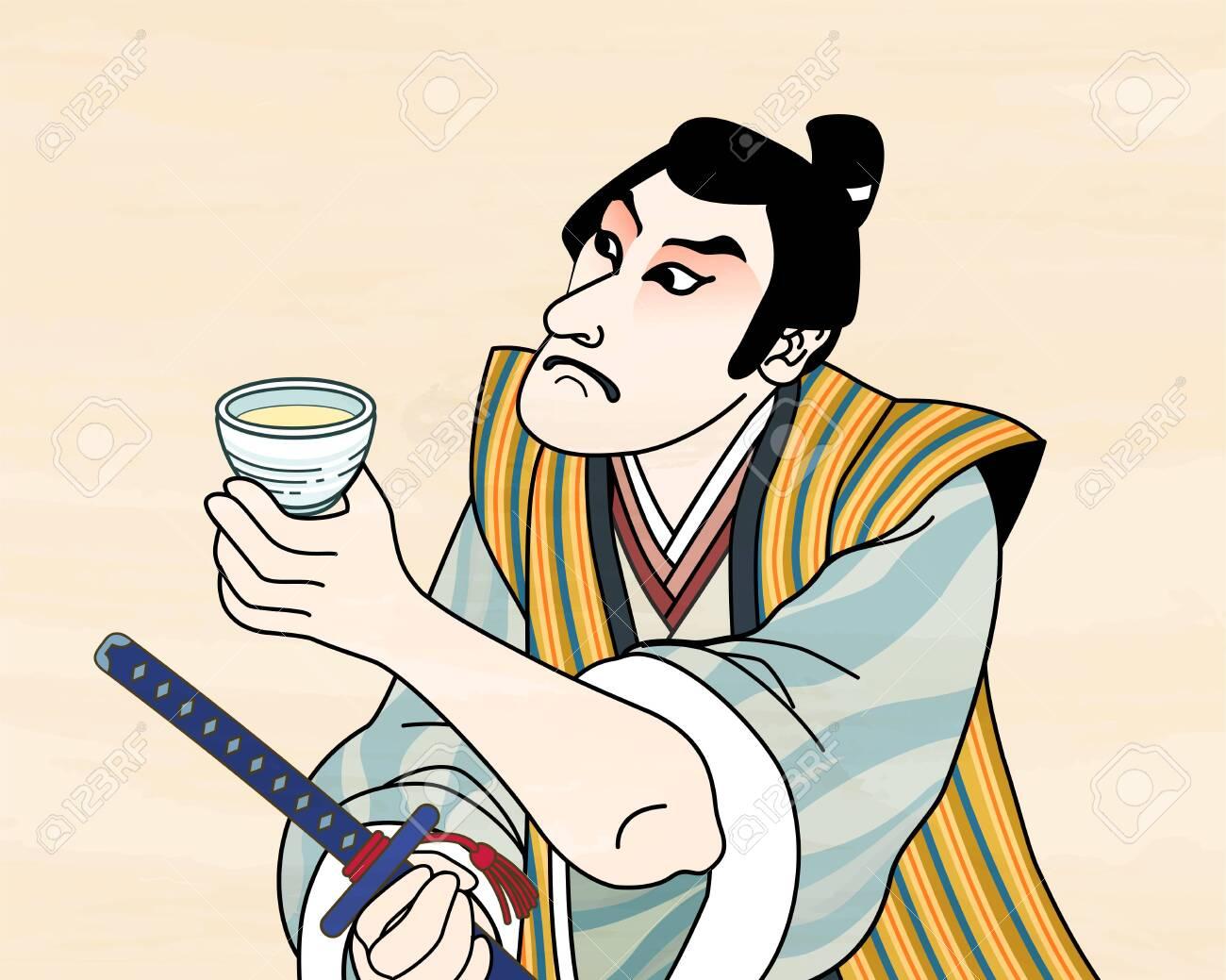 Ukiyo e style kabuki actor enjoying sake - 127824542