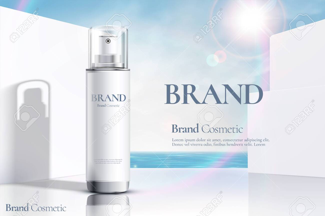 Cosmetic spray bottle ads on modern white wall and ocean background in 3d illustration - 130601376
