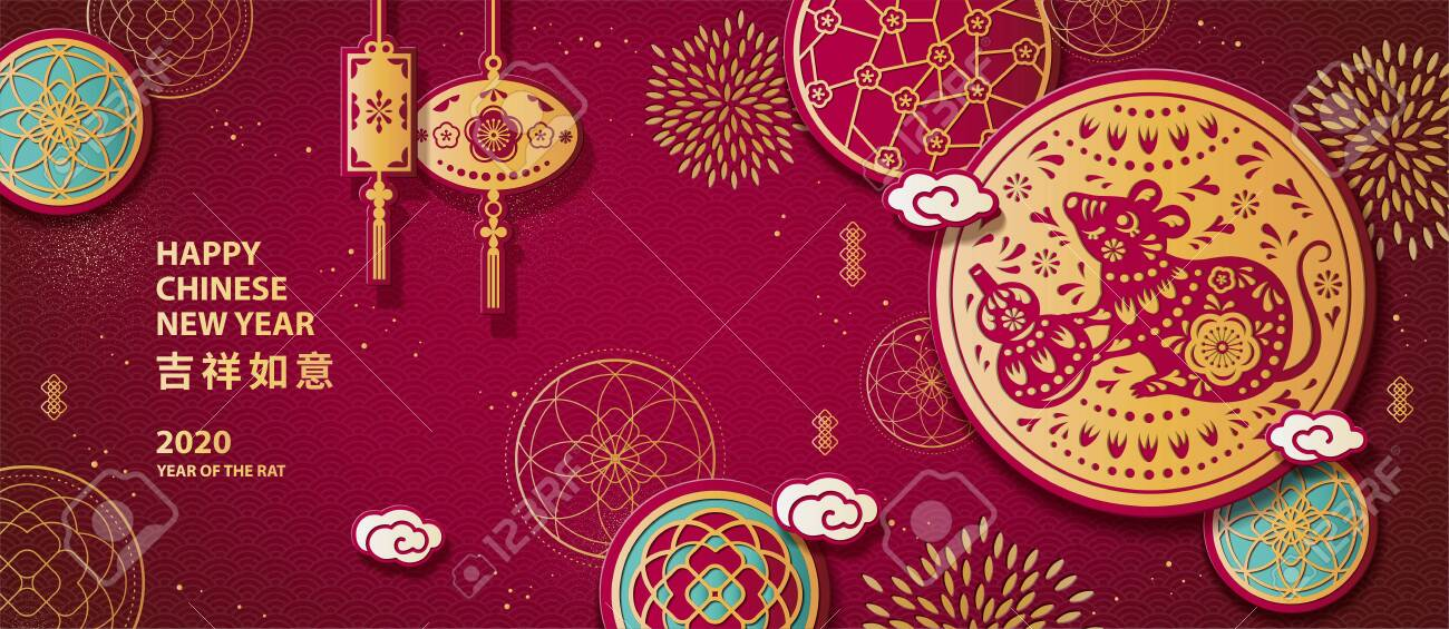 Year of the rat paper cut banner design with mouse holding bottle gourd on golden and burgundy red background, auspicious written in Chinese words - 130601382
