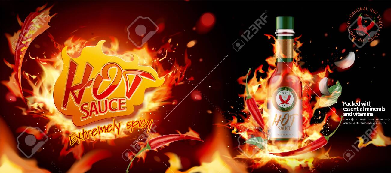 Hot chili sauce ads banner with burning fire effect in 3d illustration - 130601394