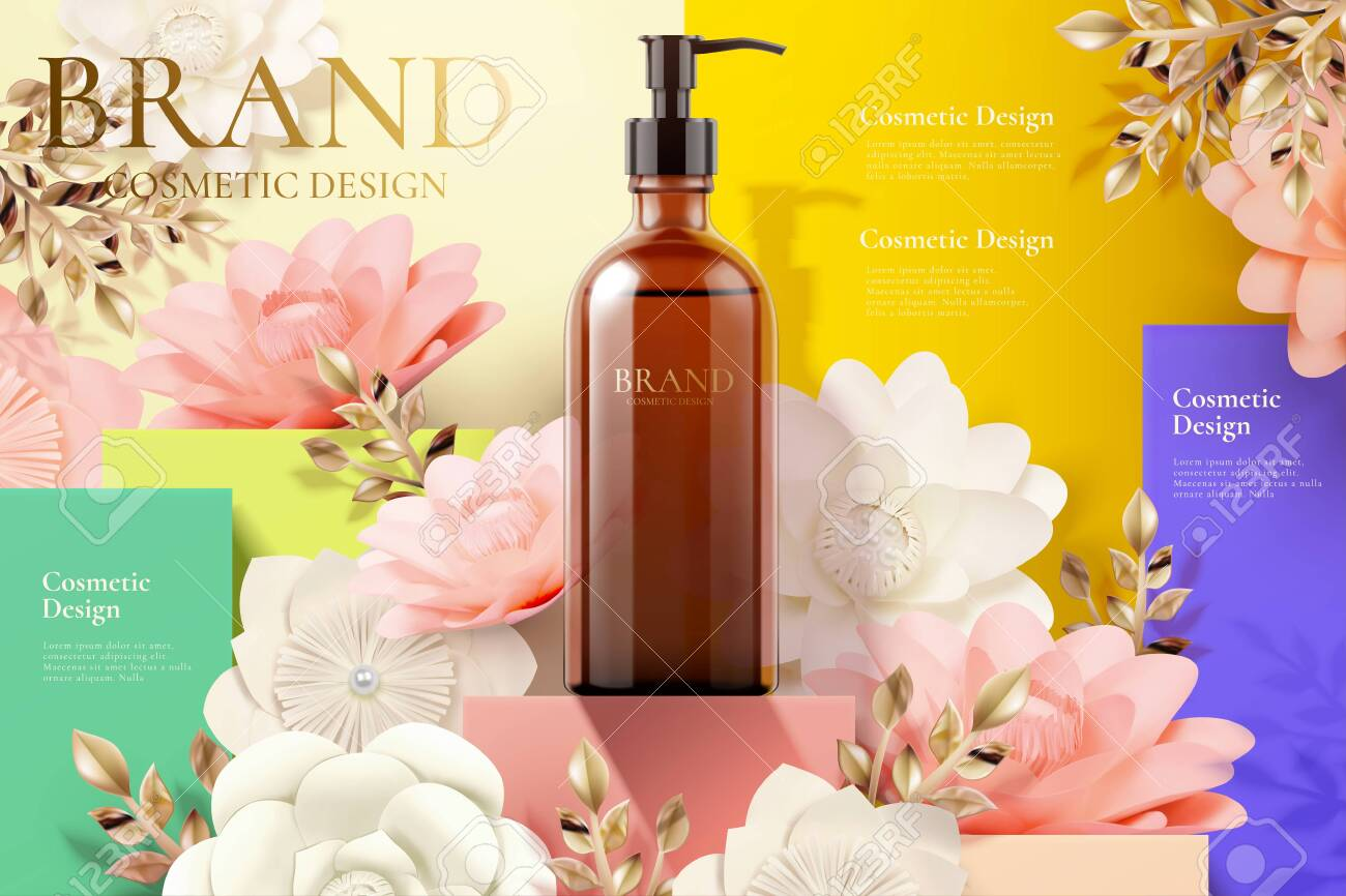 Pump bottle ads on square podium and paper art flowers in 3d illustration - 130601420
