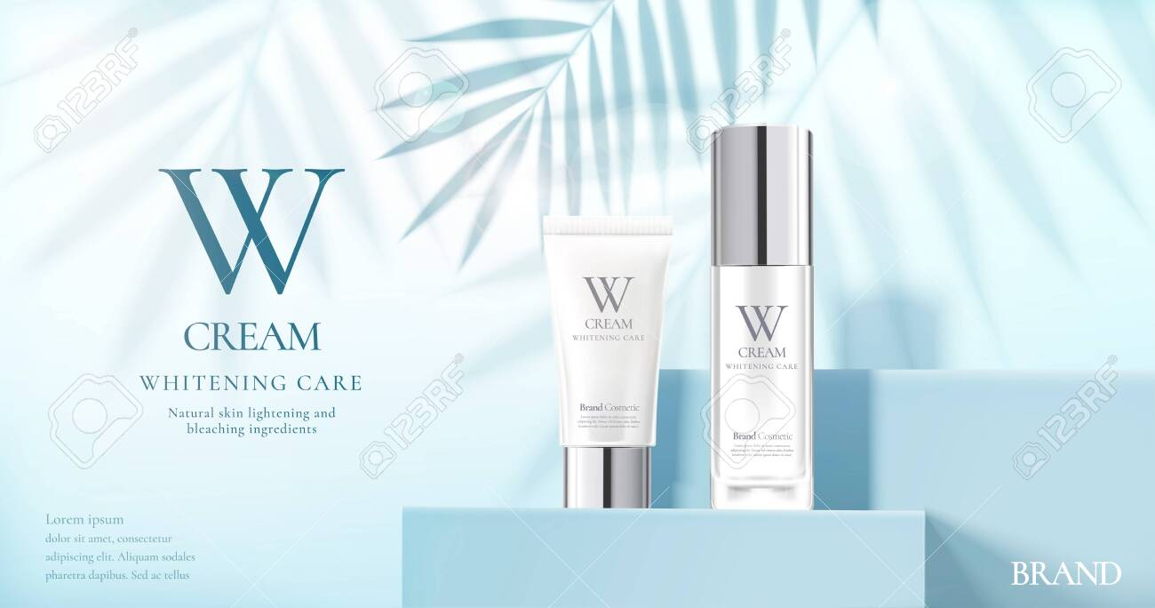 Skin care product set ads with white bottles on blue square podium stage and palm leaves shadows in 3d illustration - 131645231