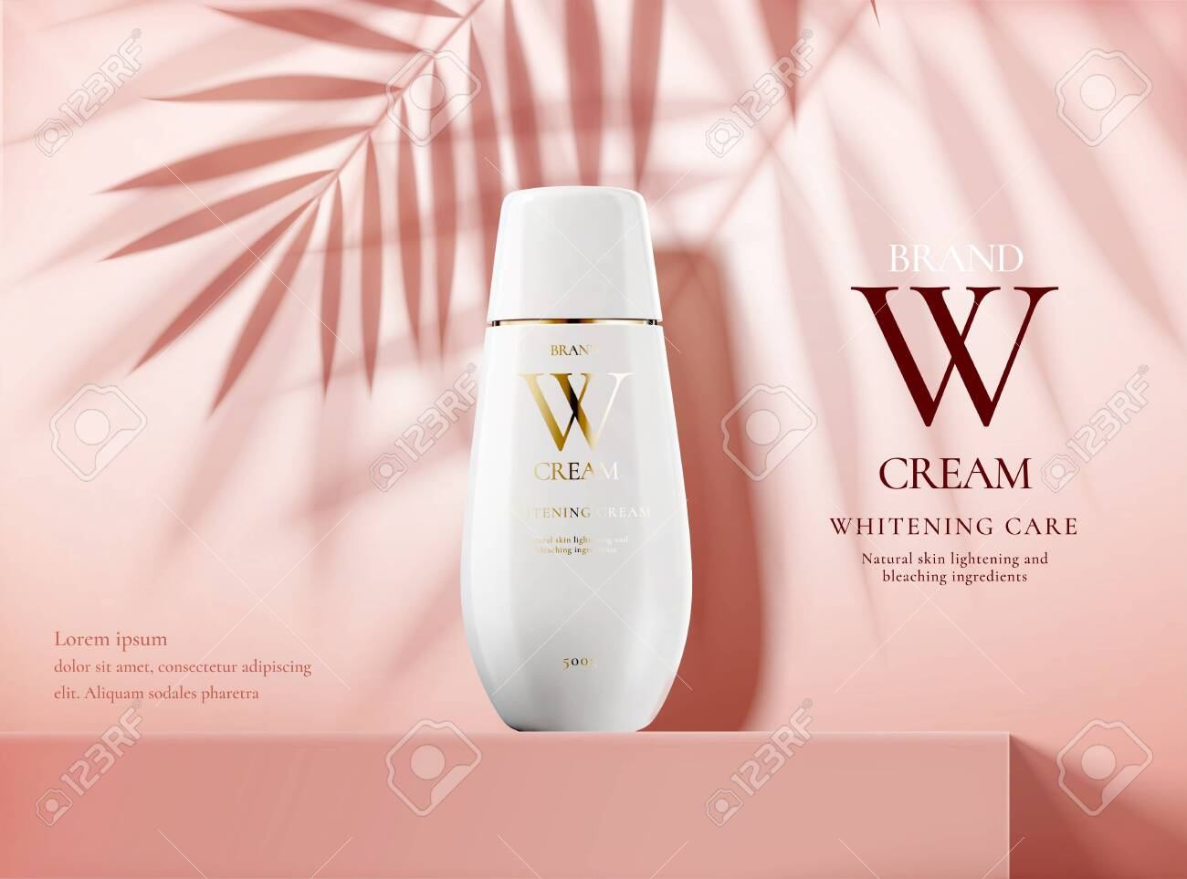 Skin care product ads with white bottle on pink square podium stage and palm leaves shadows in 3d illustration - 131645224