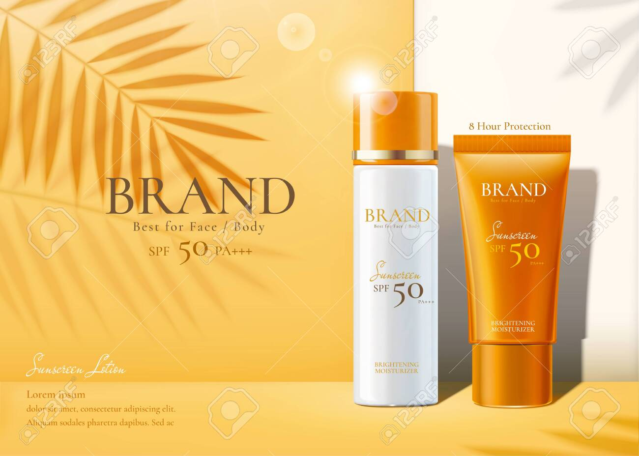 Sunscreen products set ads with summer palm leaves shadows on chrome yellow background in 3d illustration - 131645382