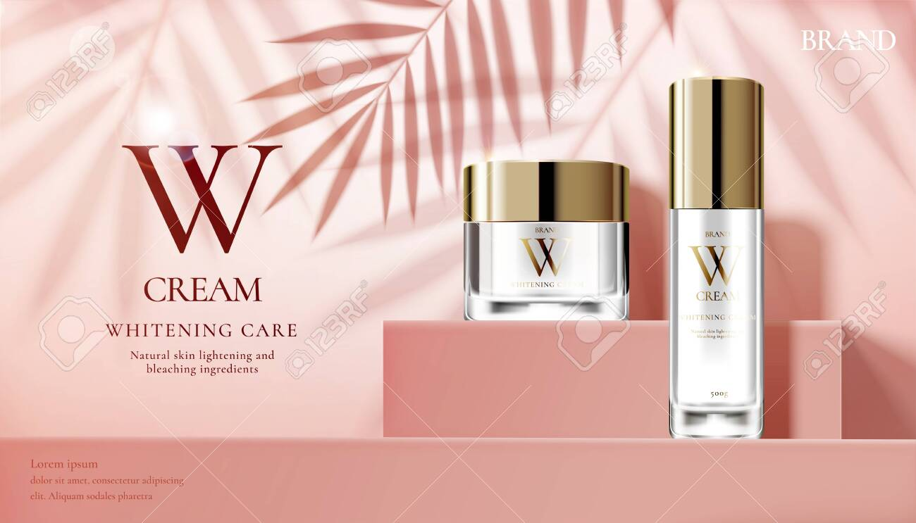 Skin care set ads with cream jar on pink square podium stage and palm leaves shadows in 3d illustration - 131645289