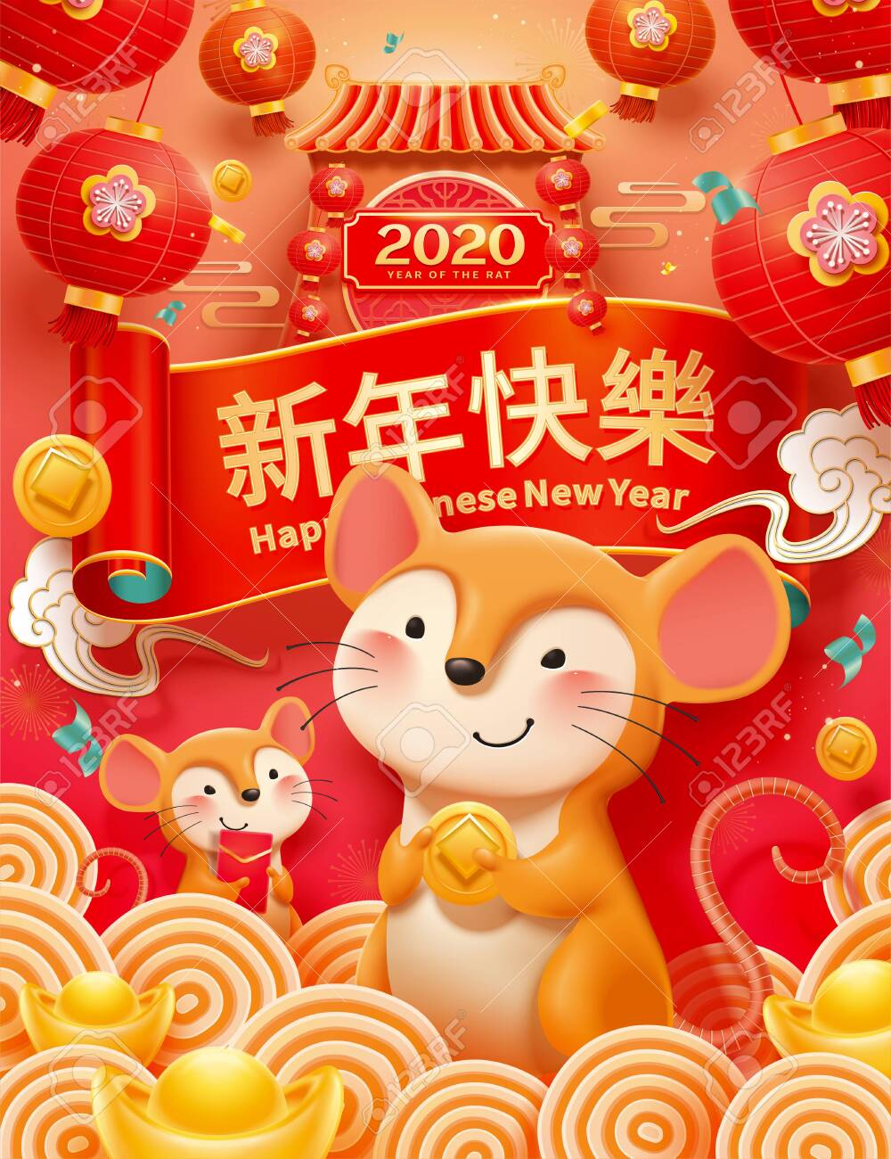 Chinese year of the rat holding golden coins on red background - 133374580