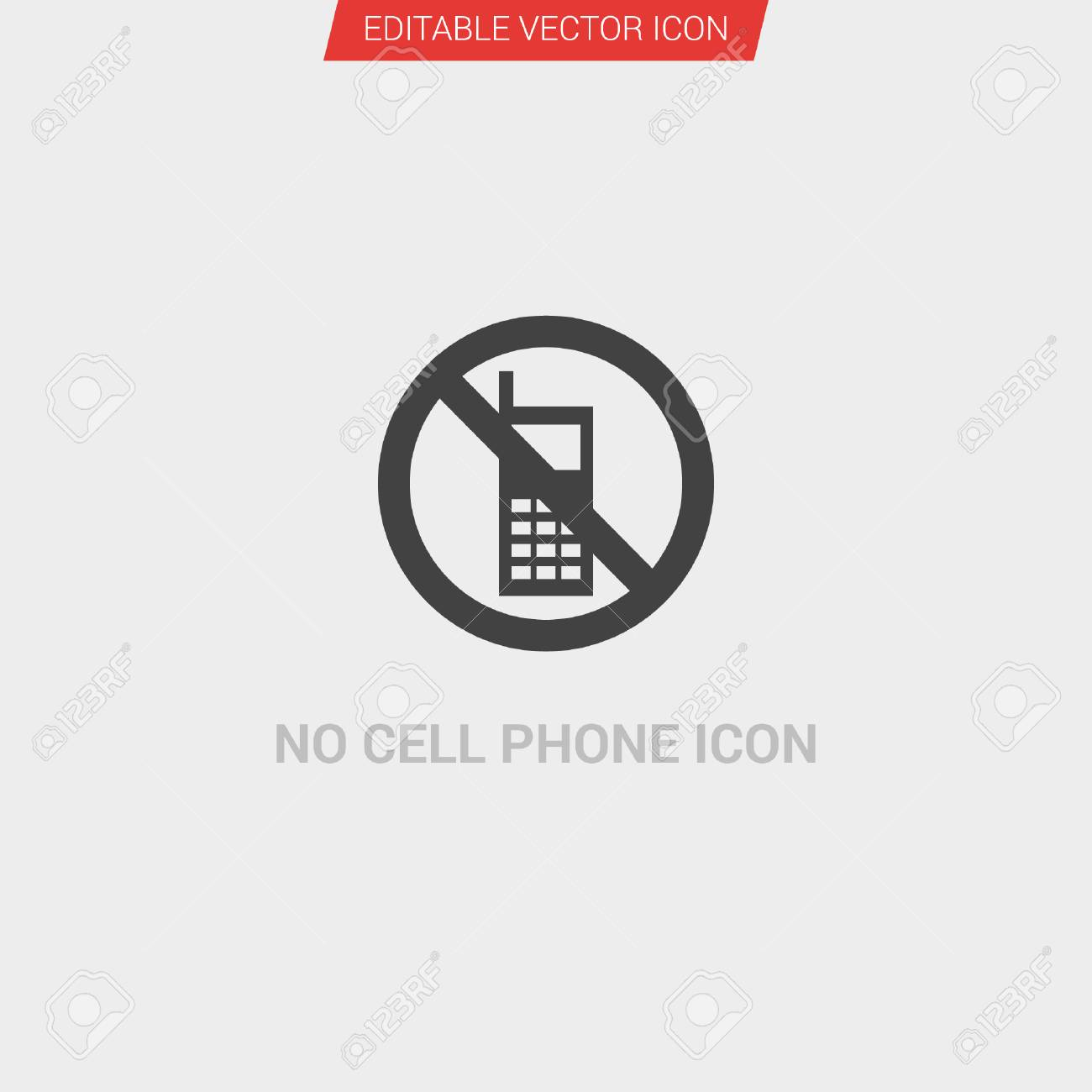 c2f2a7b31bb3 No Cell Phone sign icon dark grey new trendy flat style vector symbol Stock  Vector -