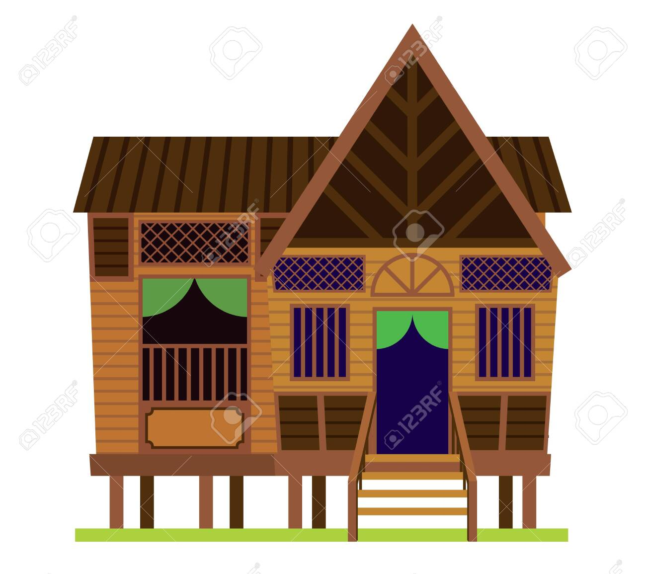 Malay Vintage House Traditional Village Malay House Rumah Royalty Free Cliparts Vectors And Stock Illustration Image 143967040