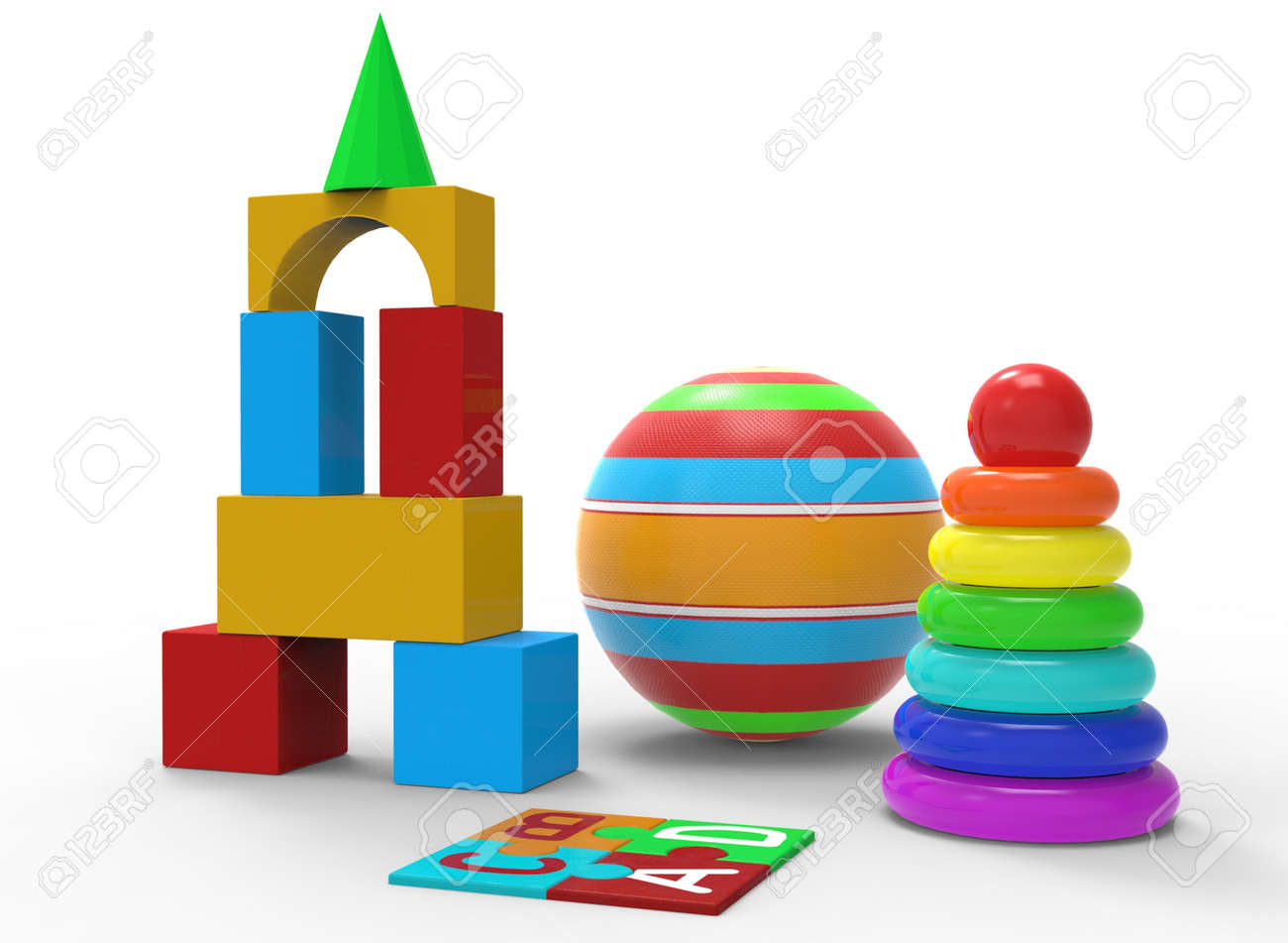 childrens toys of simple shape, ball, pyramid 3d-illustration 3d-rendering - 165255282