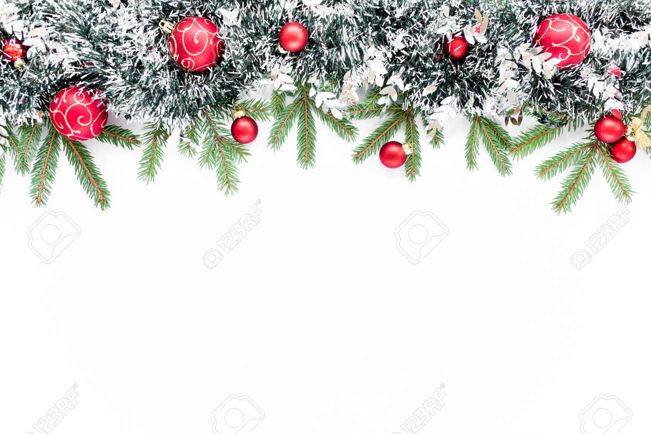 Christmas composition with fir branches, christmas balls and tinsel. Flat lay, top view - 154996340