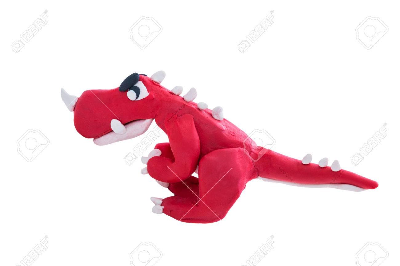 creative clay model red dinosaur from children bright plasticine
