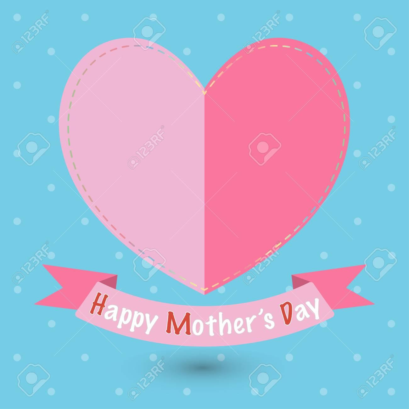 Feliz Día De La Madre Corazones De Papel O Tarjeta De Felicitación Conveniente Para Varios Diseños Invitación Y álbum De Recortes Vector