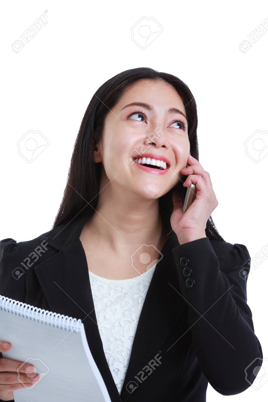Young Happy Businesswoman Talking On Mobile Phone And Holding