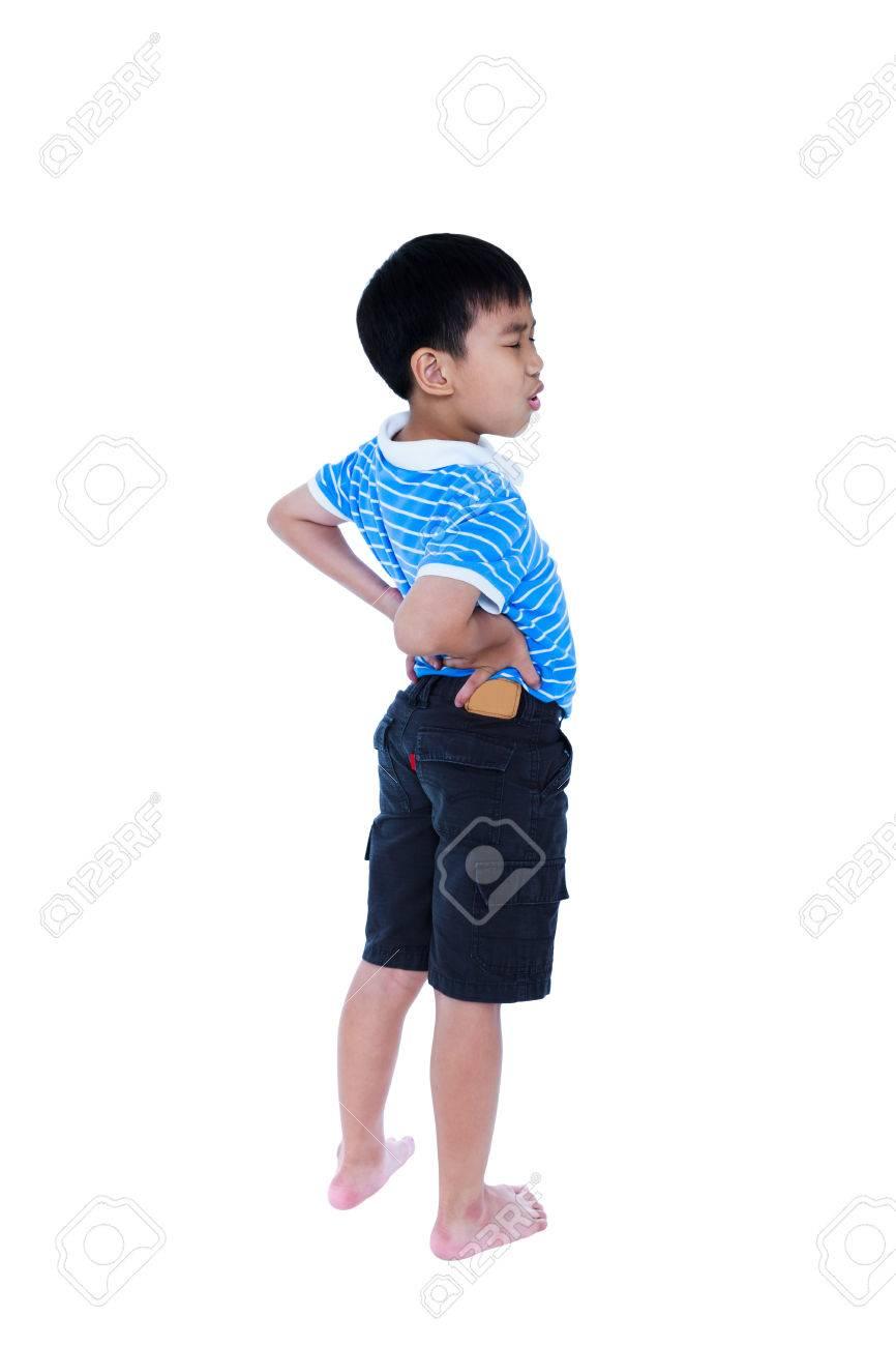 Ganzer Körper Von Asiatischen Kind Reibt Die Muskeln Seines Unteren ...