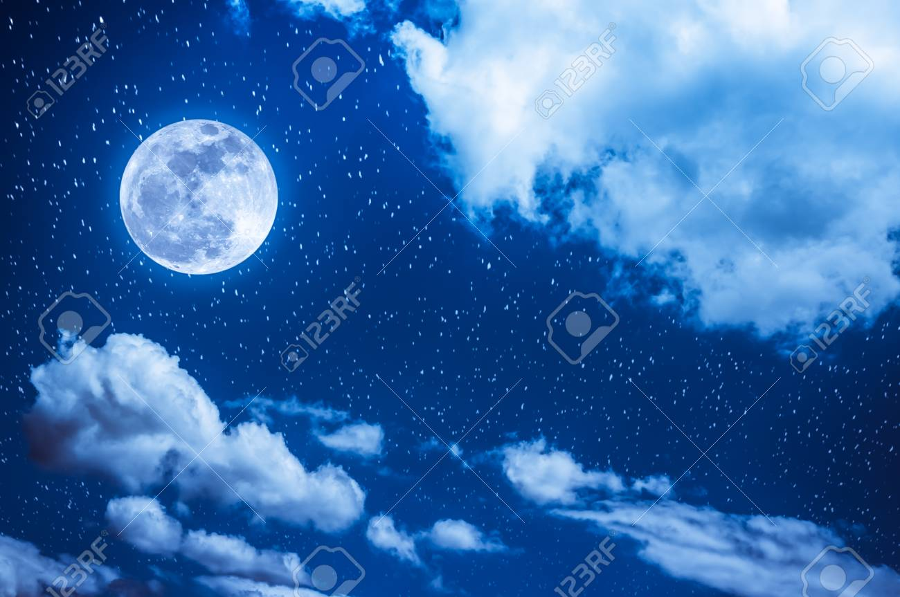 Beautiful Cloudscape With Many Stars Night Sky Bright Full Moon And Cloudy Serenity