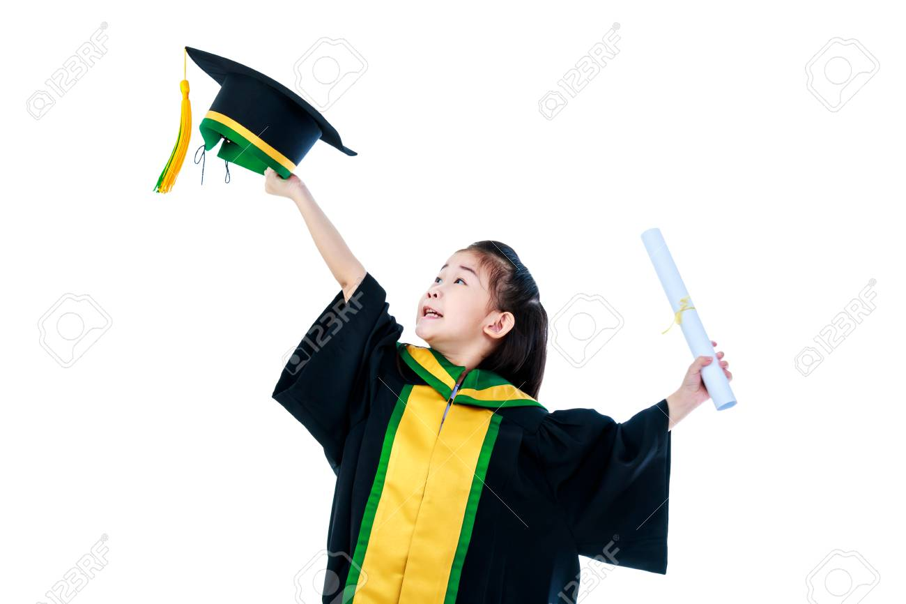 Kindergarten Graduation Happy Asian Child In Gown Holding Cap And Diploma Certificate At Studio