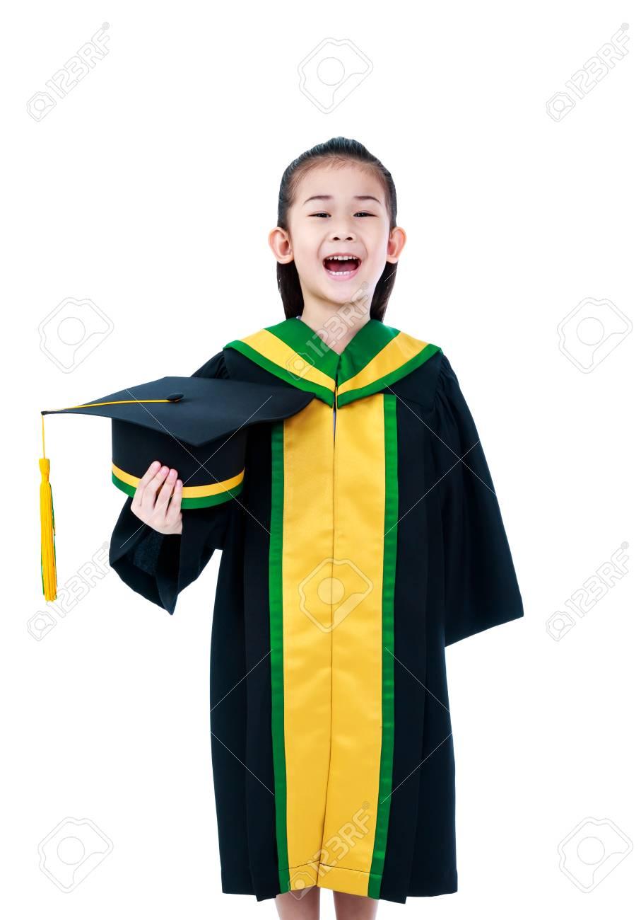 Kindergarten Graduation Happy Asian Child In Gown Holding Cap At Studio Cute Girl