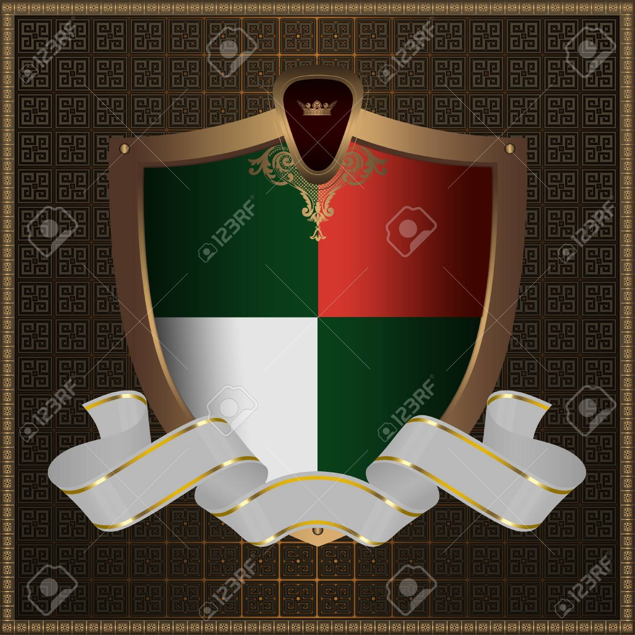 Golden shield with white ribbon. Stock Photo - 12704337