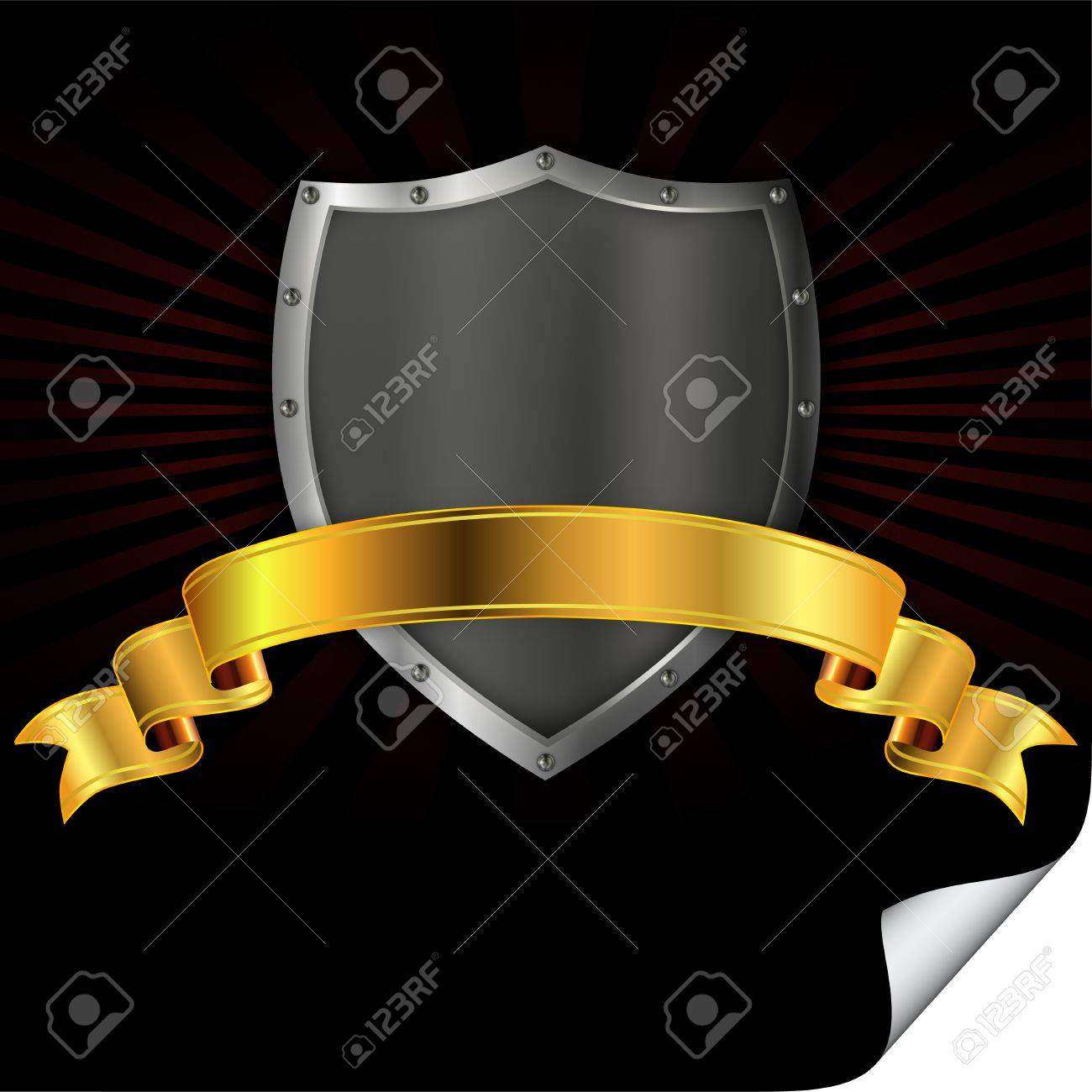 Riveted iron shield with a gold ribbon Stock Photo - 13169108
