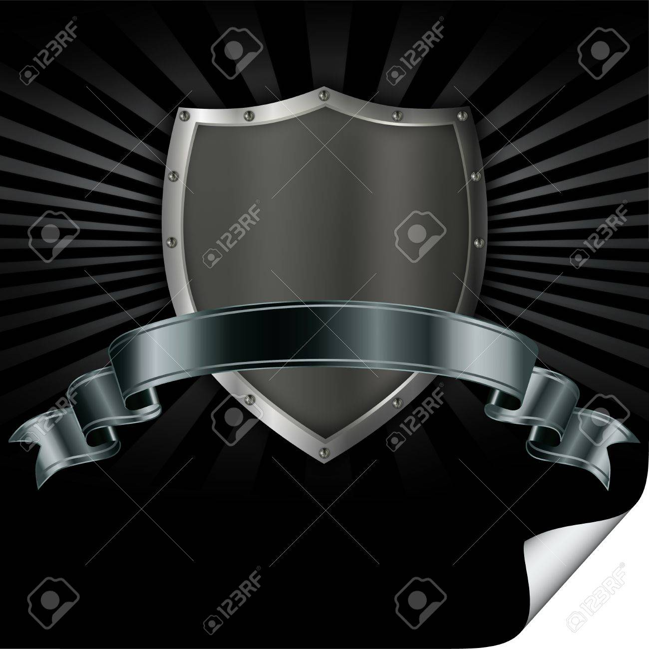 Riveted iron shield with a silver ribbon Stock Photo - 13169105