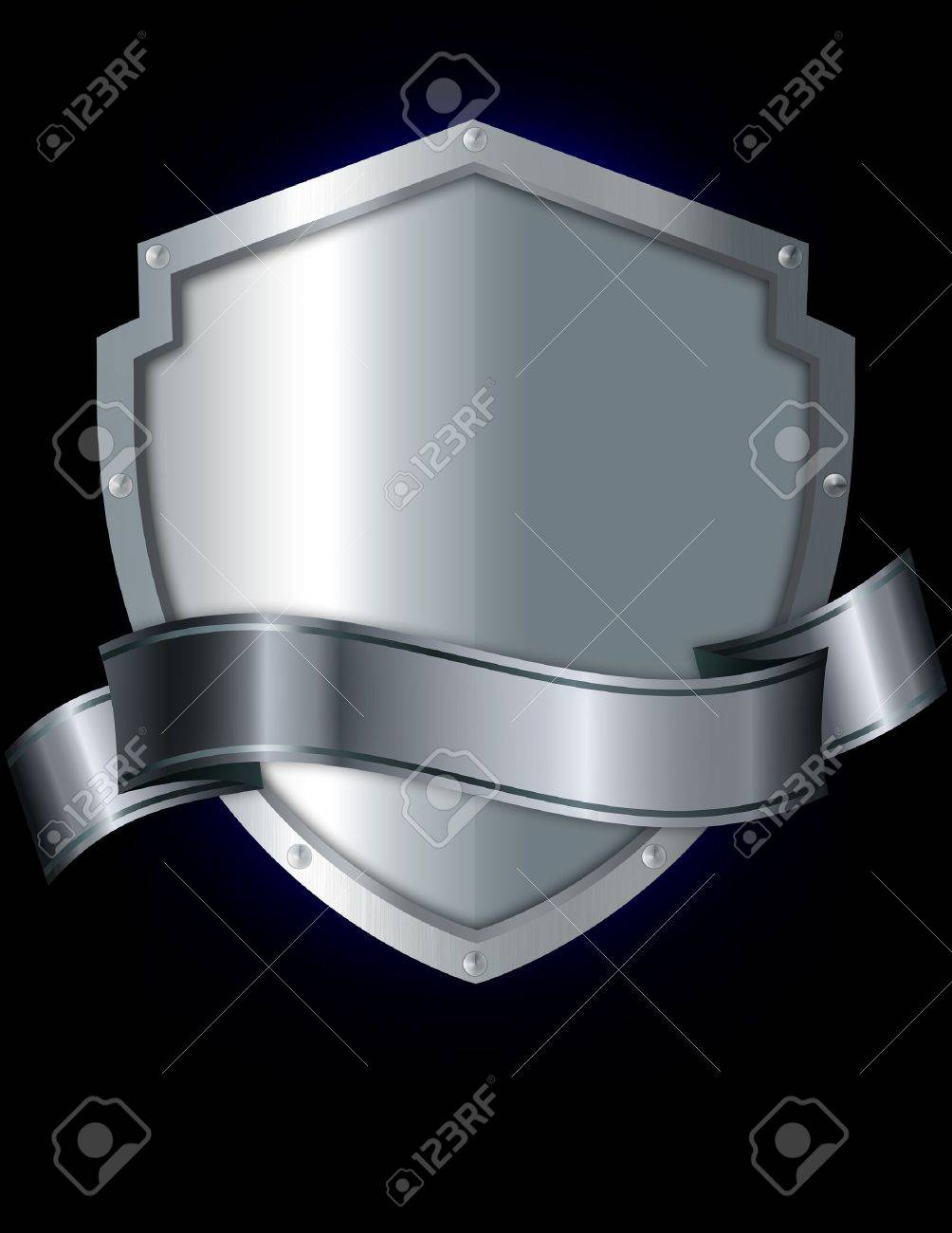 Silver shield and silver ribbon on a black background Stock Photo - 13528559