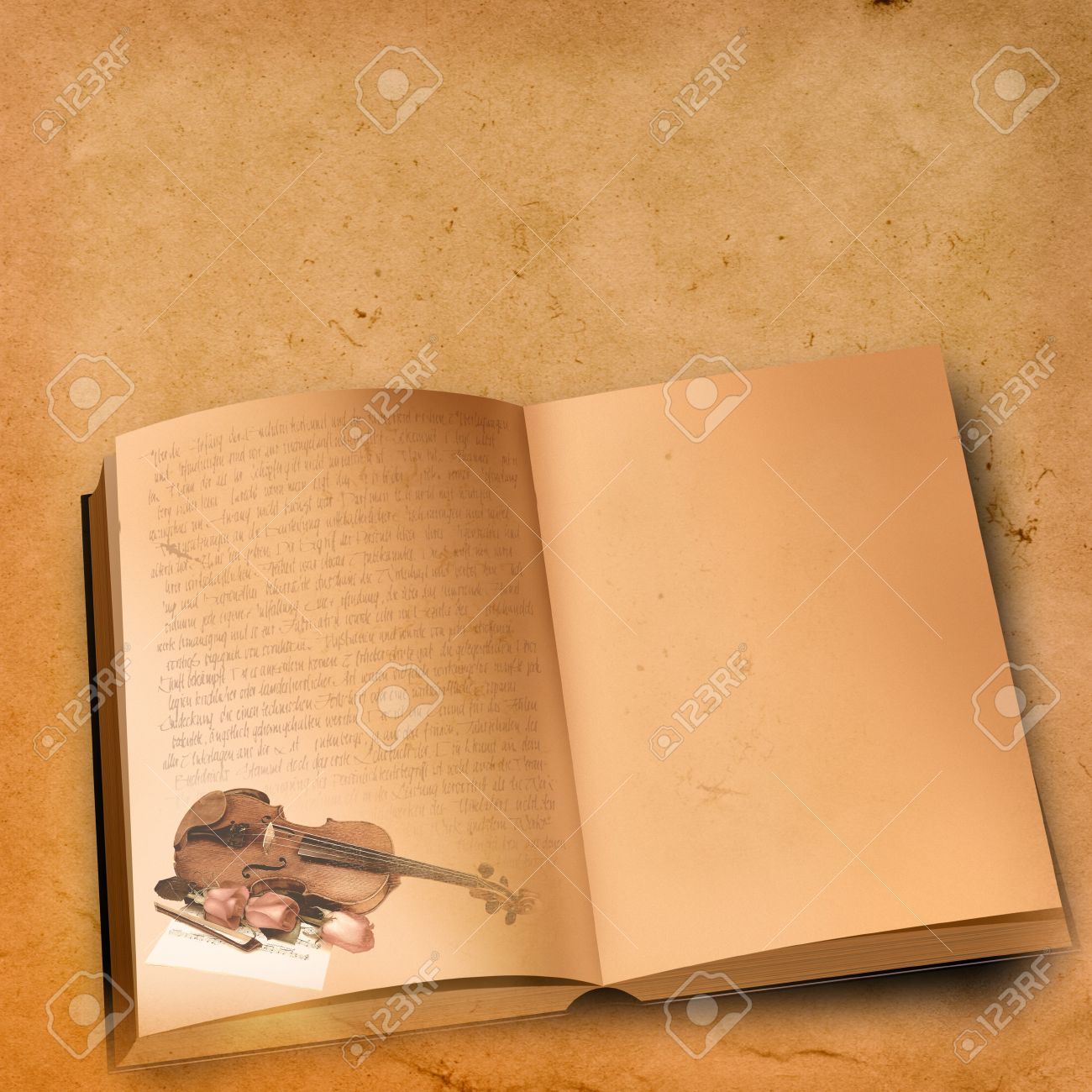 vintage open book with old fashioned text and violin with roses