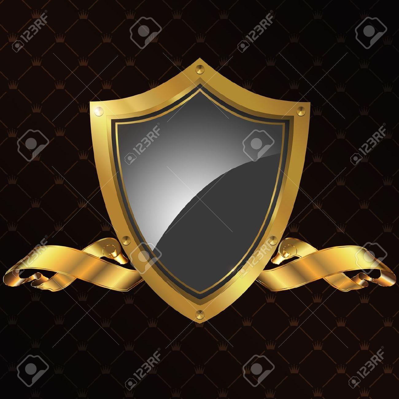 Golden shield and ribbon Stock Photo - 14168770