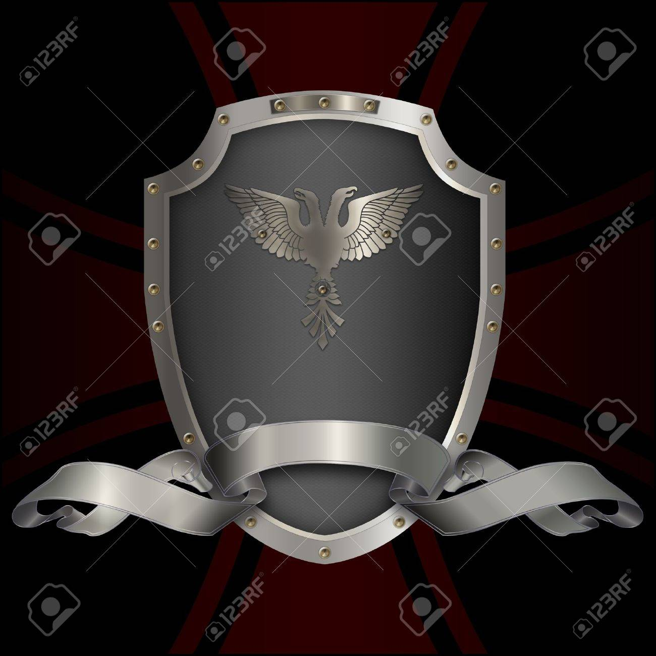 Decorative silver shield with double-eagle and silver ribbon Stock Photo - 14168769