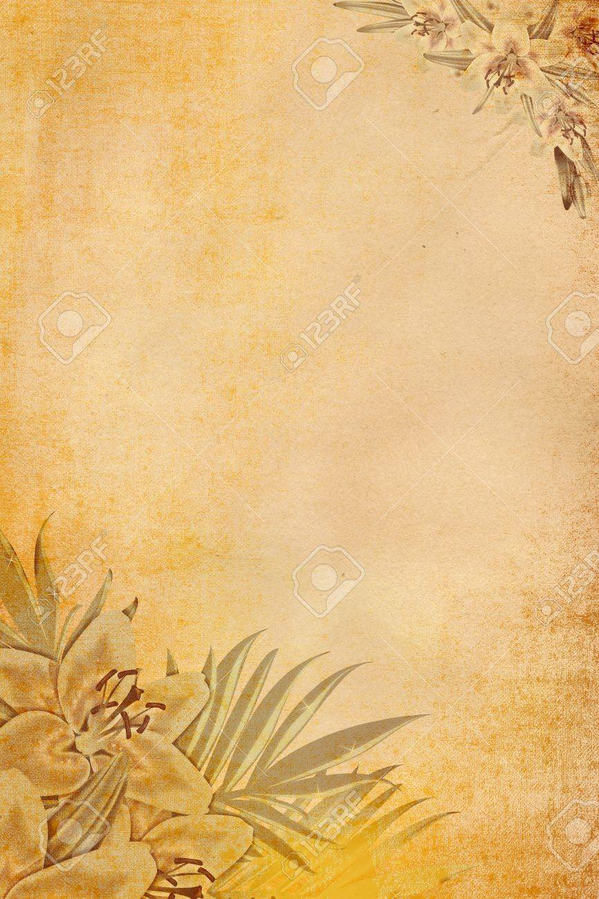 Grunge paper with image of flowers Stock Photo - 14168826