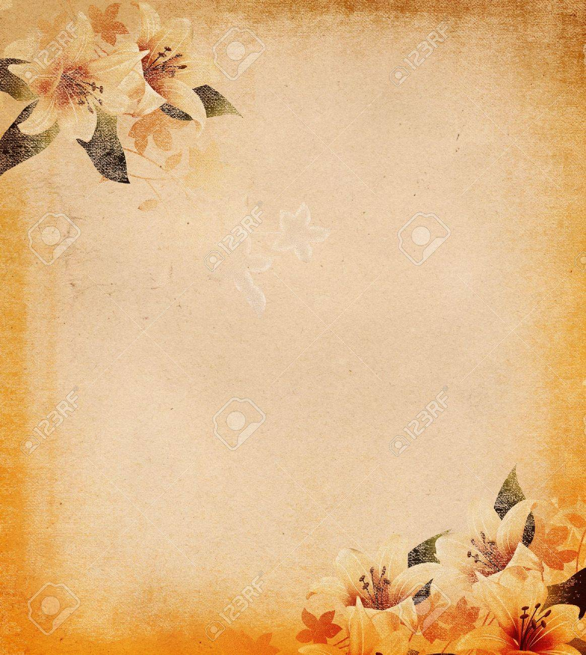 Grunge paper background with floral decoration Stock Photo - 14168822