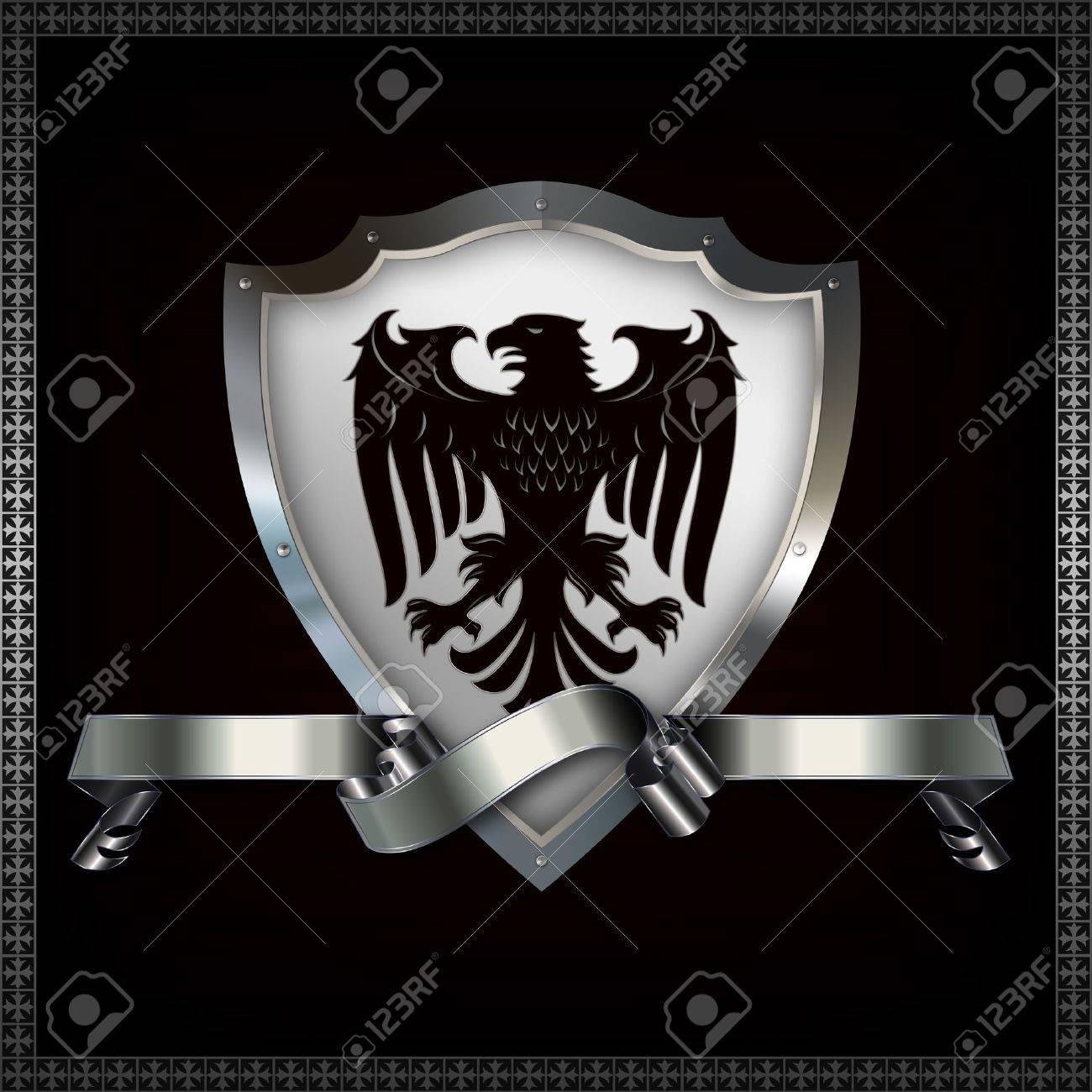 Heraldic shield with image of heraldic eagle and decorative ribbon Stock Photo - 14463507