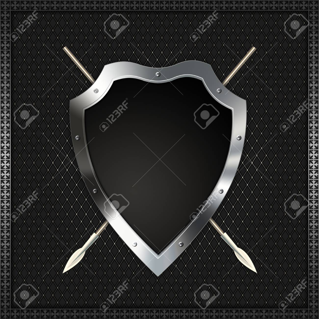 Shield with spears on a decorative background Stock Photo - 14792479