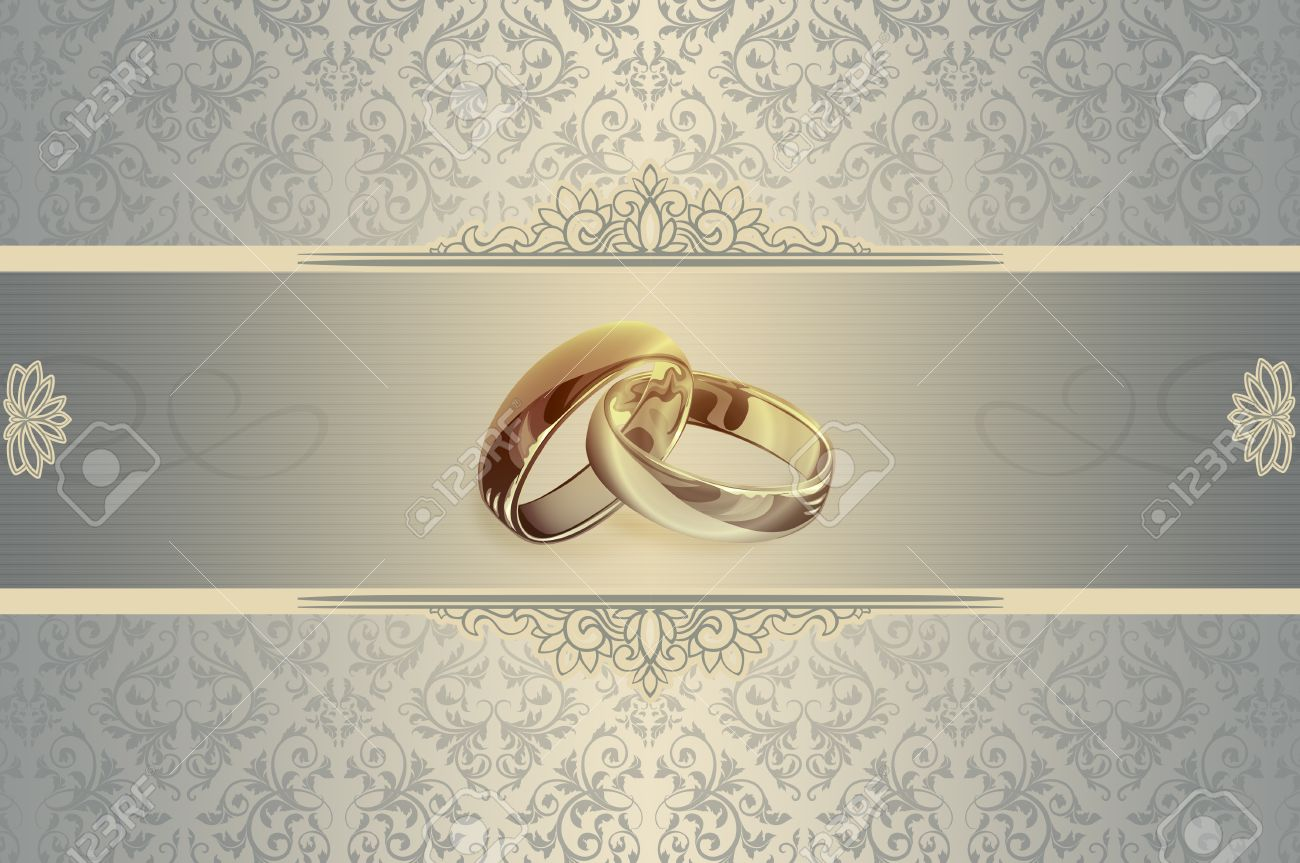 Elegant Floral Background And Two Gold Rings For The Design Of