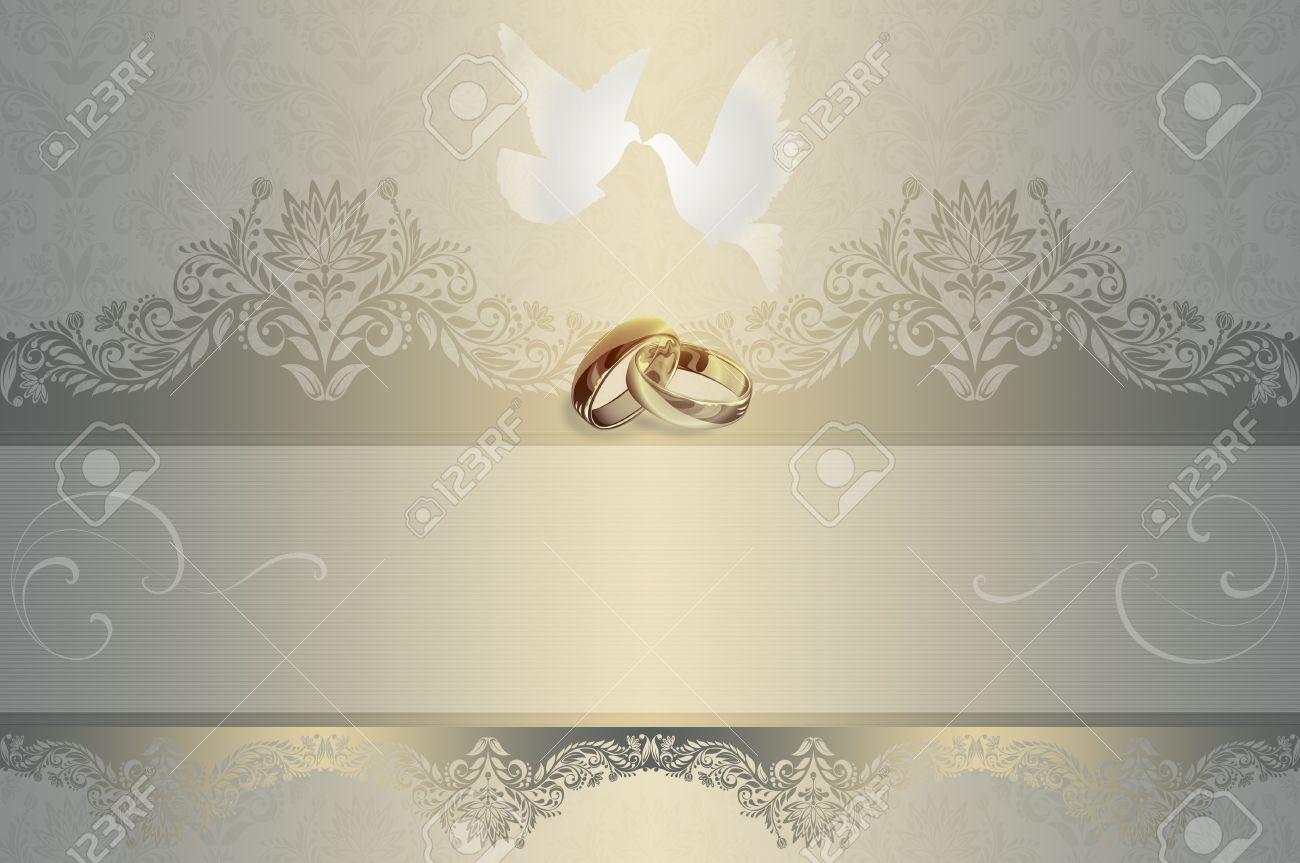 Plantilla De Tarjeta De Invitación De Boda Con Palomas Blancas Y Anillos De Oro