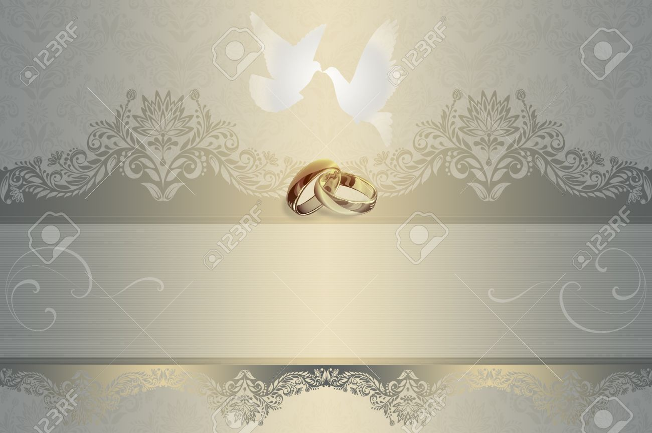 Template Of Wedding Invitation Card With White Doves And Gold ...