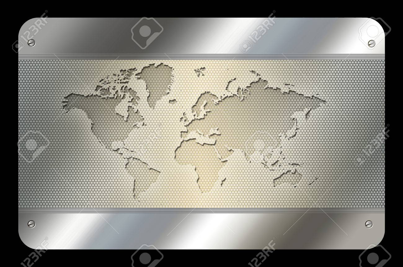 Template Of Business Card. Abstract Metal Background With World ...