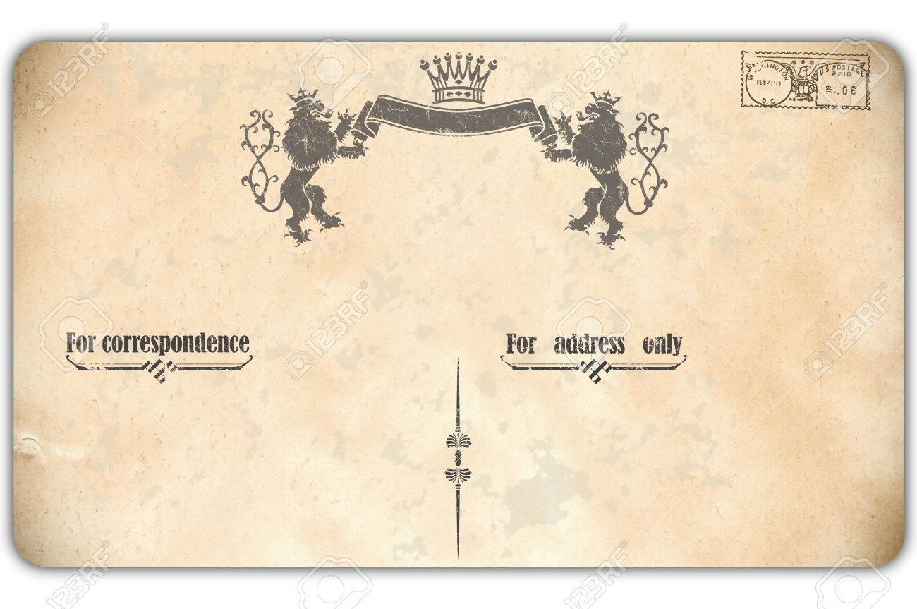 old postcard with vintage patterns and stampold fashioned postcard template stock photo