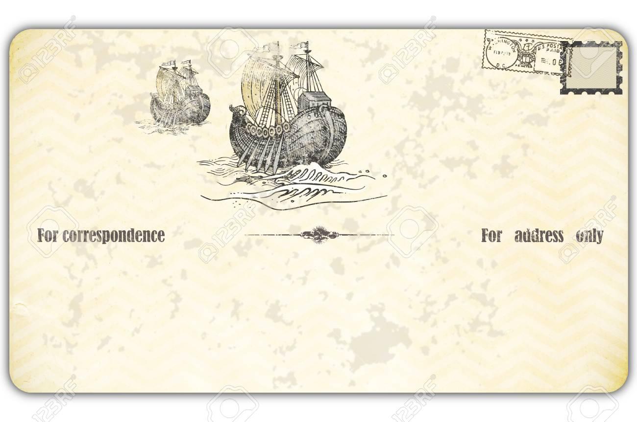 Alte Ansichtskarte Mit Antiken Schiffen Und Stamp.Old-fashioned ...