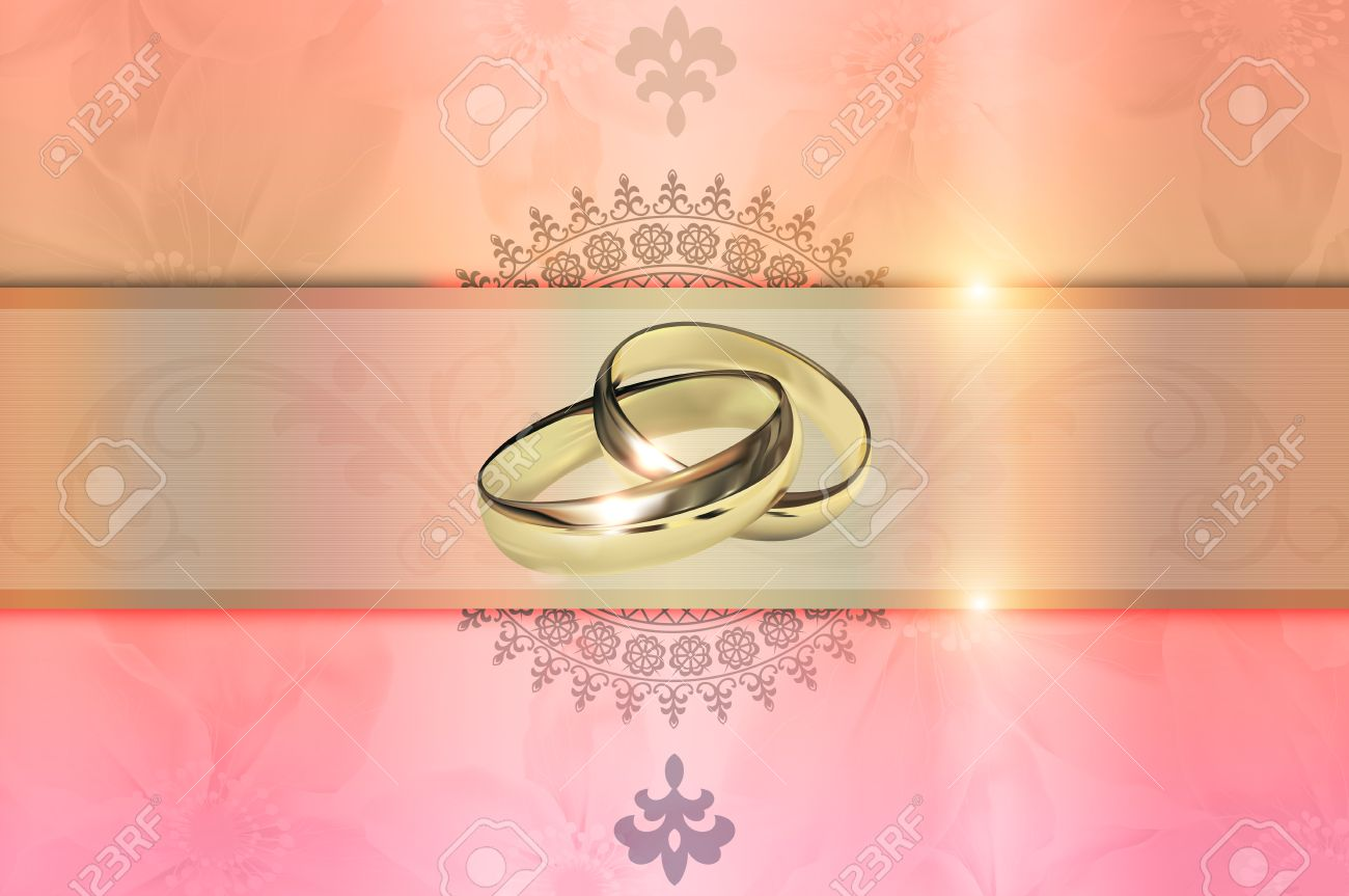 Template of wedding invitation card decorative wedding floral stock photo template of wedding invitation card decorative wedding floral background with gold rings stopboris Gallery