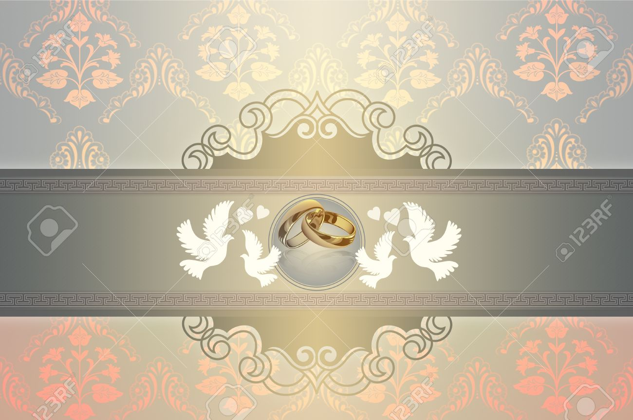 Template Card Of Wedding Invitation With Gold Rings And Elegant Patterns Doves Stock Photo