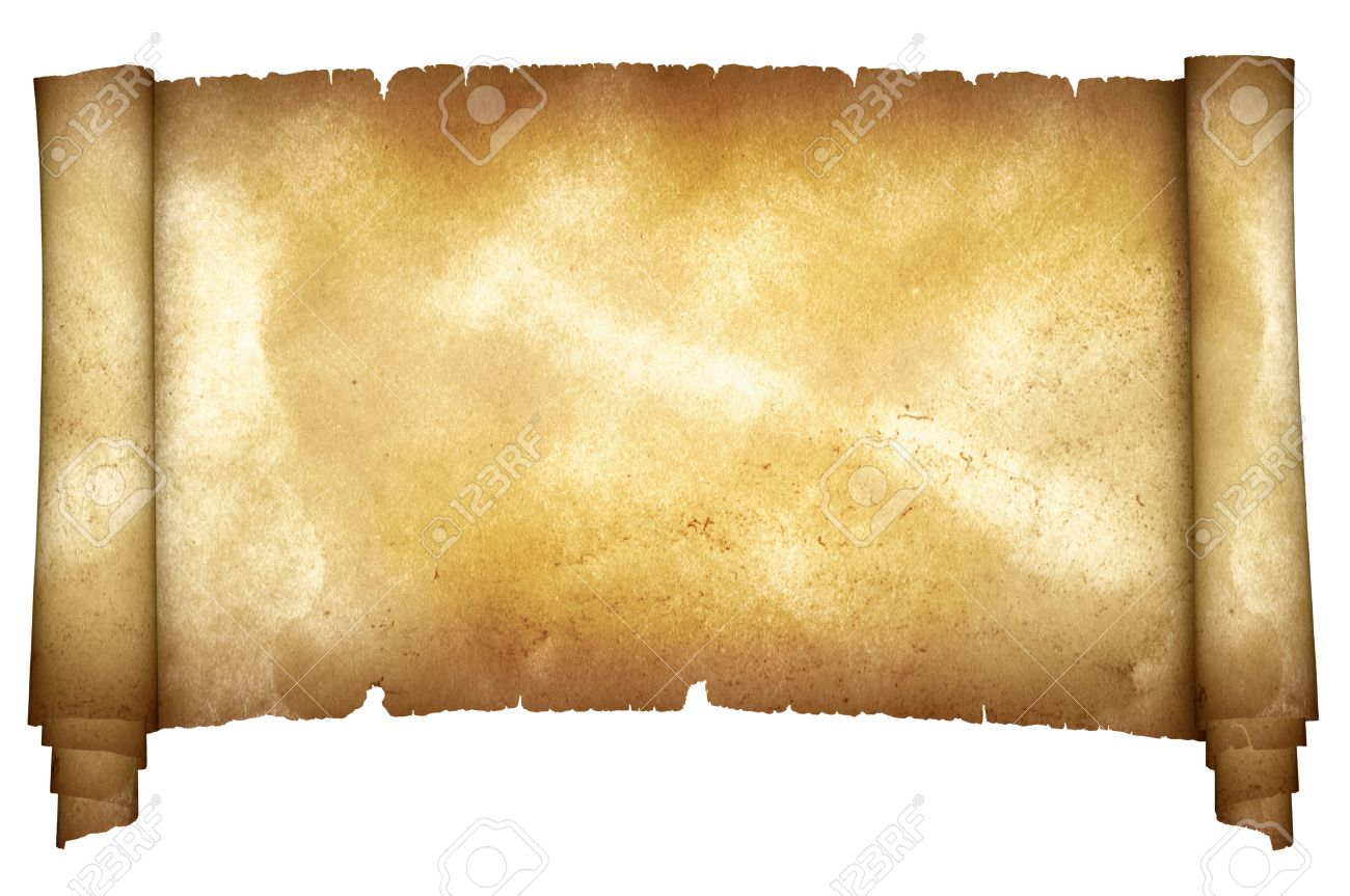 ancient torn parchment on white background natural old paper