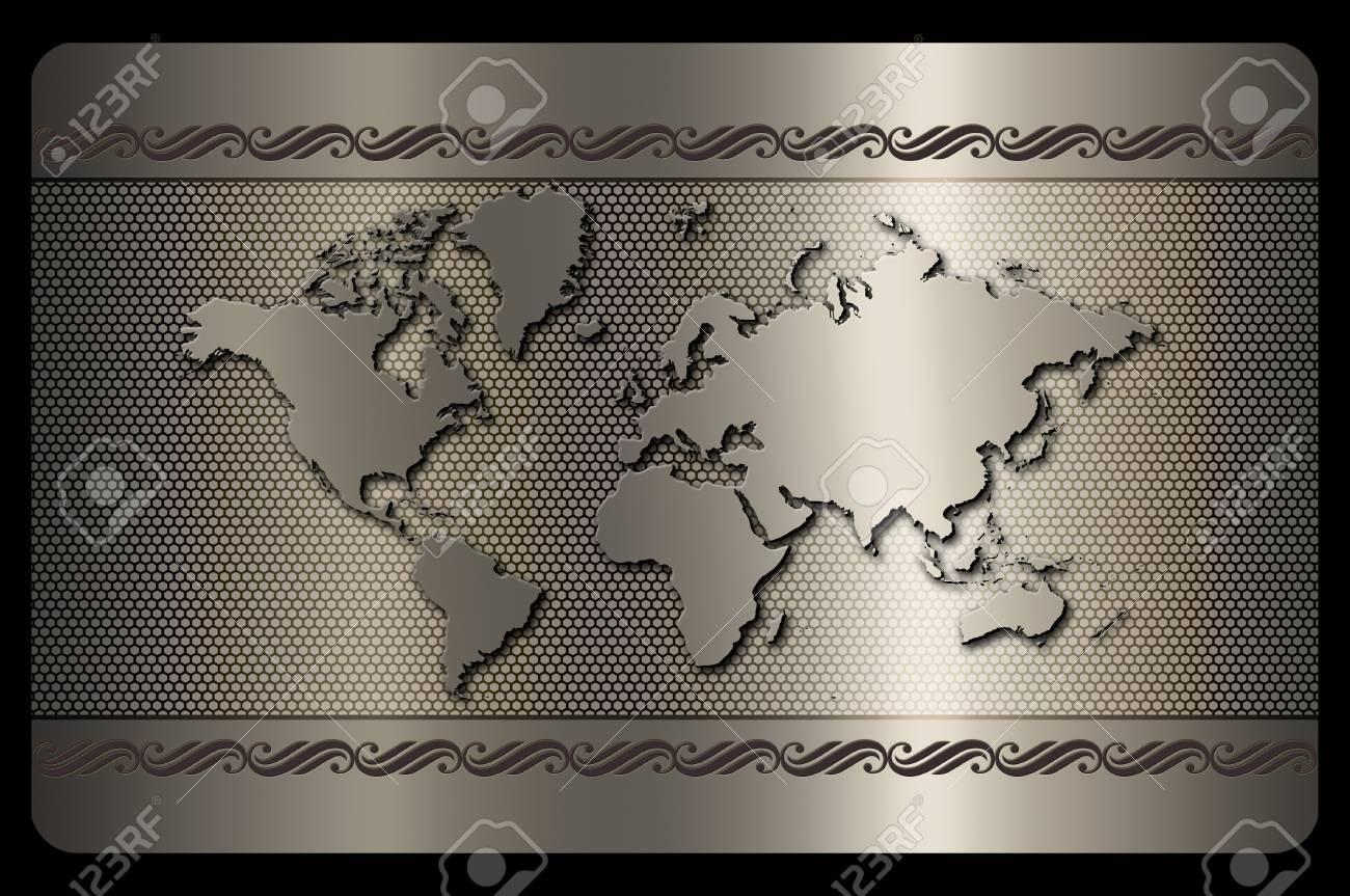 Futuriste Fond Metallique Avec La Carte Du Monde Pour Conception