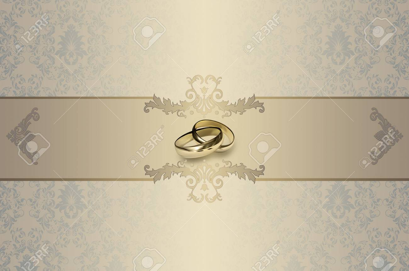 Template Of Wedding Invitation Card Decorative Background With