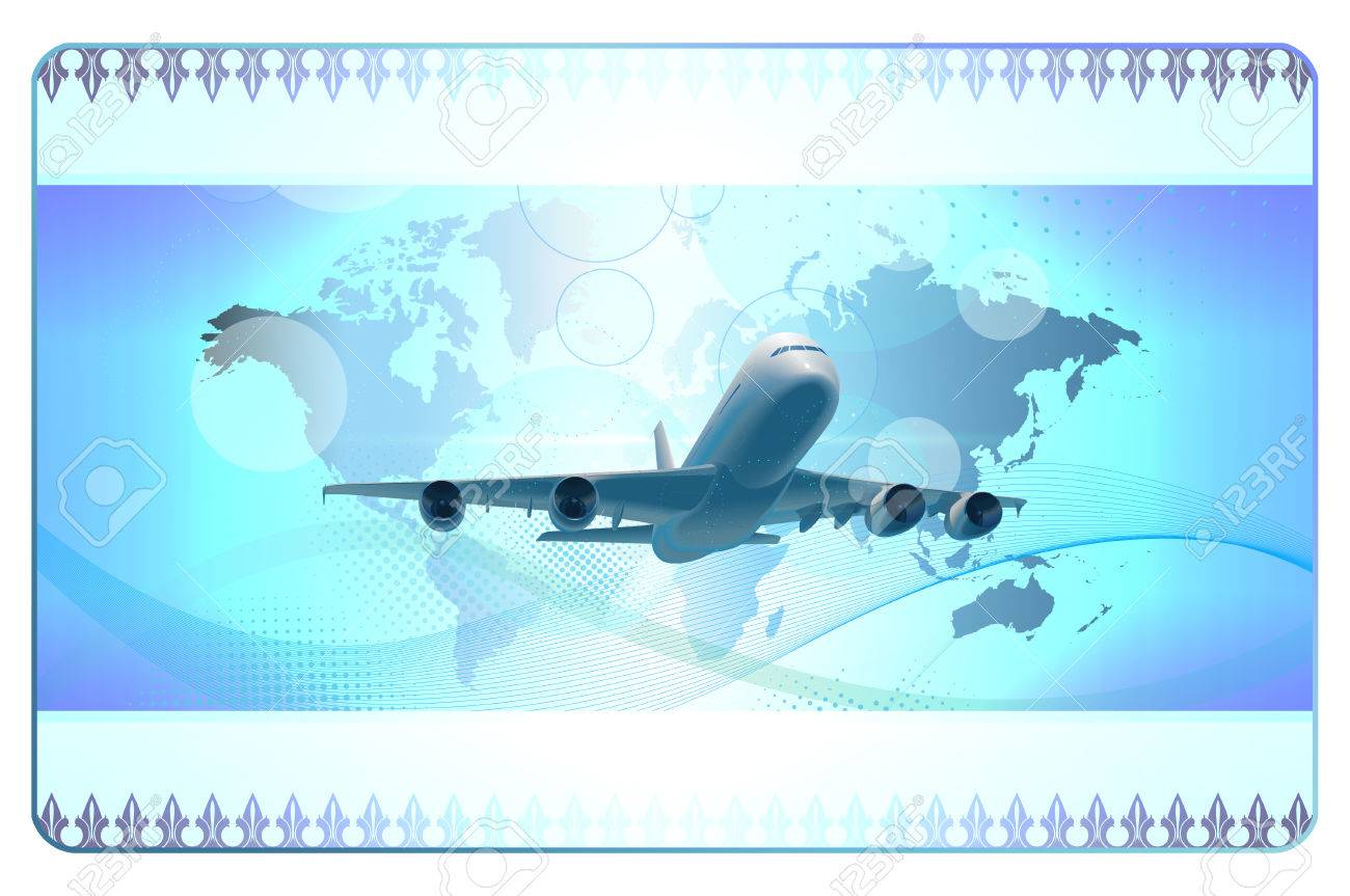 Fond Bleu Futuriste Avec Avion Carte Du Monde Et Des Lments
