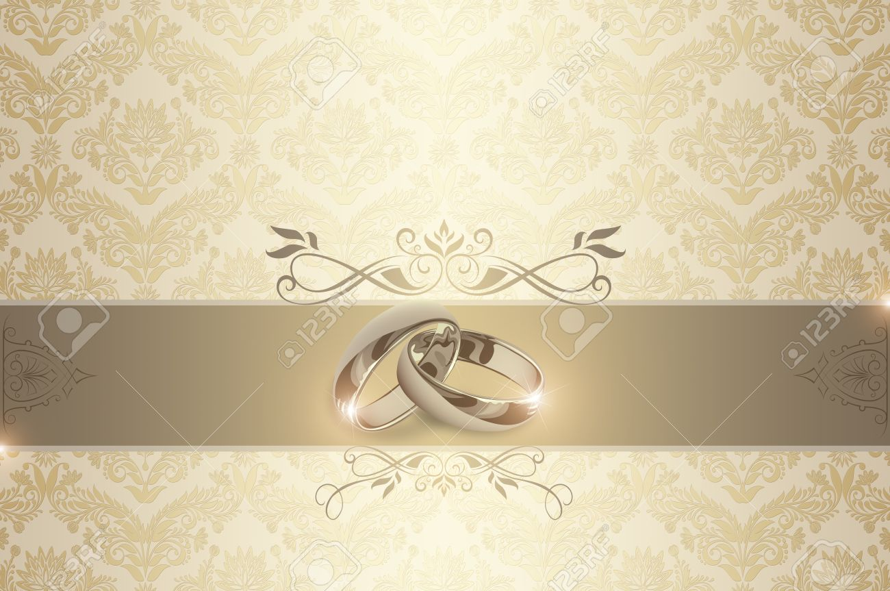 Decorative wedding background with gold rings and floral european