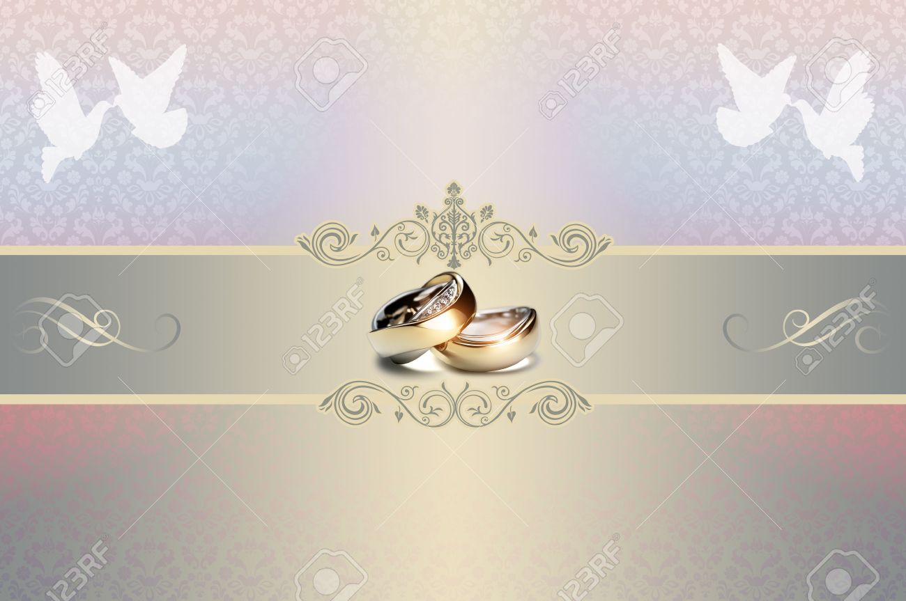Template Of Wedding Invitation Card With Gold Rings And White ...