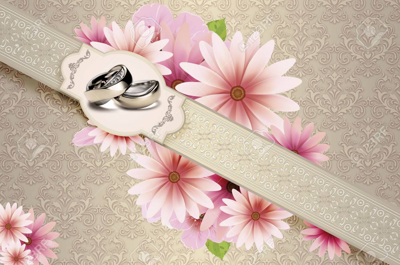 Elegant Floral Background With Decorative Frame And Gold Rings ...