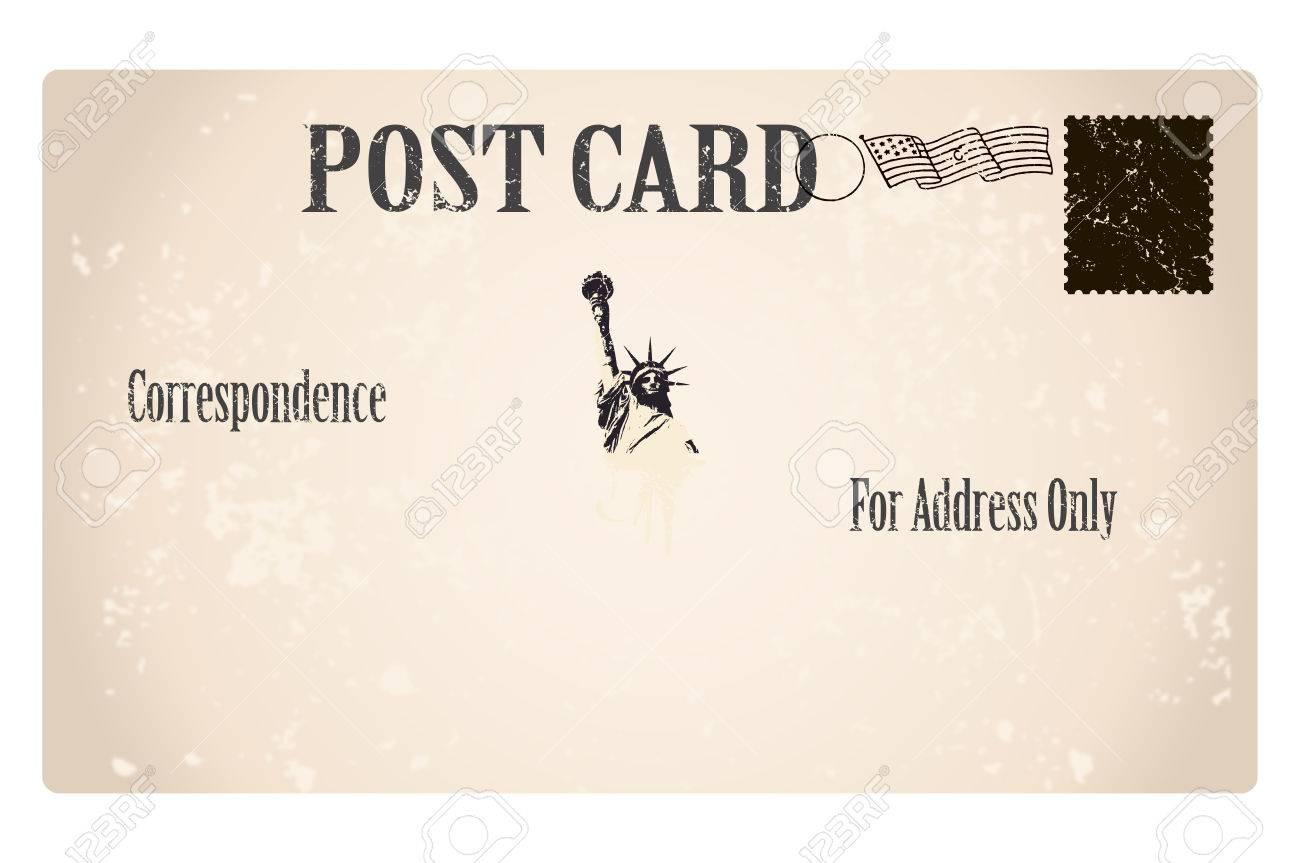 Plantilla Antigua Tarjeta Postal Con Copia Espacio Para La ...